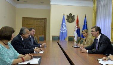 Special Representative of the Secretary-General (SRSG), Mr. Zahir Tanin meeting with the Prime Minister of Serbia Aleksandar Vučić in Belgrade.