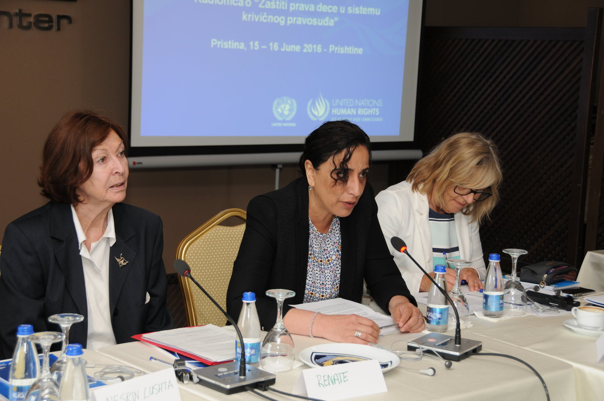 Miriam Ghalmi (middle), the head of UNMIK Human Rights Office speaking at the workshop - 2016©UNMIK Photo by: Arton Muçolli