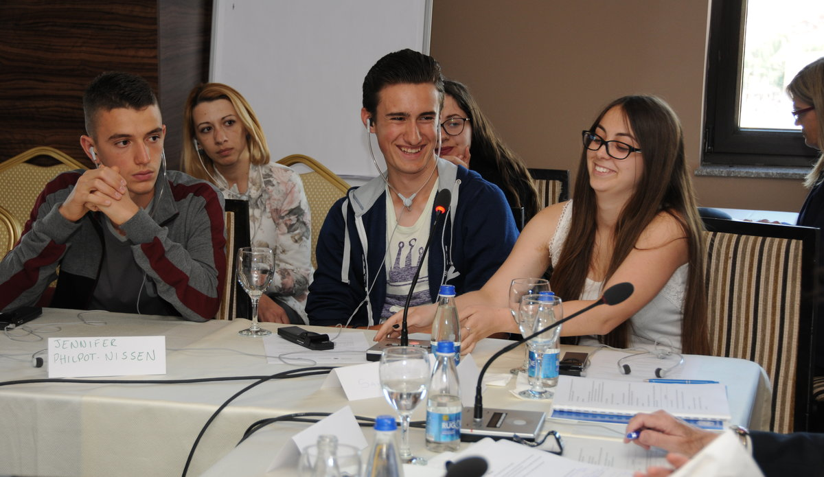 "Children from World Vision project ""Kids for Peace Filip Dimic (middle) and Ardina Ahmetaj (right) expressing their views about the rights of children in juvenile justice - 2016©UNMIK Photo by: Arton Muçolli"