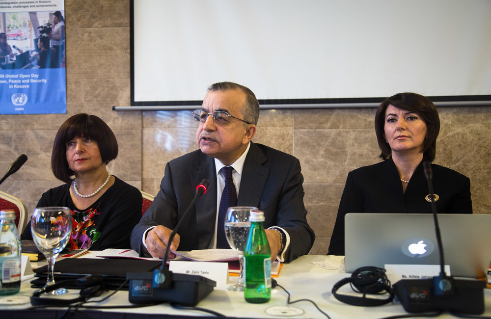SRSG Zahir Tanin gives his opening remarks during the fifth UN Global Open in Kosovo, flanked by Former President Atifete Jahjaga (right) and Representative of the UN Secretary-General and Head of UN Belgrade Office Simona-Mirela Miculescu.