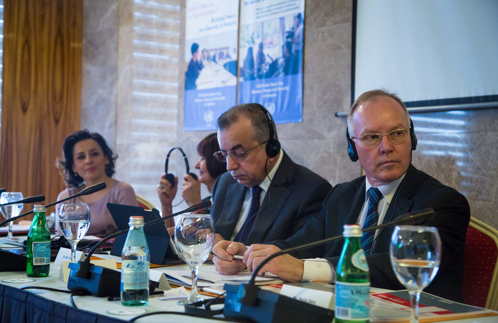 Head of OSCE Mission in Kosovo Ambassador Jan Braathu (right) next to SRSG Zahir Tanin and Head of UN Belgrade Office Simona-Mirela Miculescu.