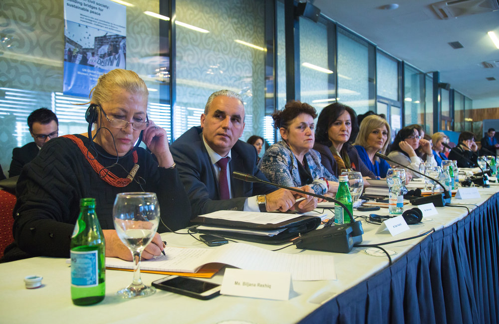 Panelists during one of the fifth UN Global Open Day in Kosovo: Women as negotiators and decision-makers: advocacy and policy-making as a means to reconciliation.