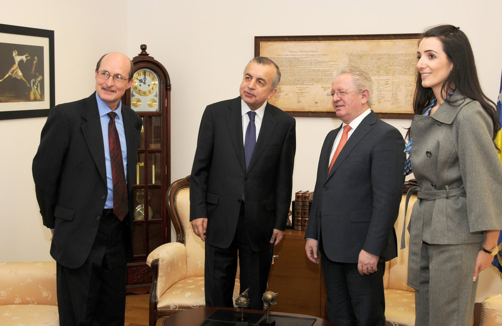 16 February 2016, Pristina - The Special Representative of the Secretary-General (SRSG), Zahir Tanin, accompanied with the newly arrived Deputy Special Representative of the Secretary-General (DSRSG), Christopher Colman were received by Minister of Interior, Skender Hyseni.