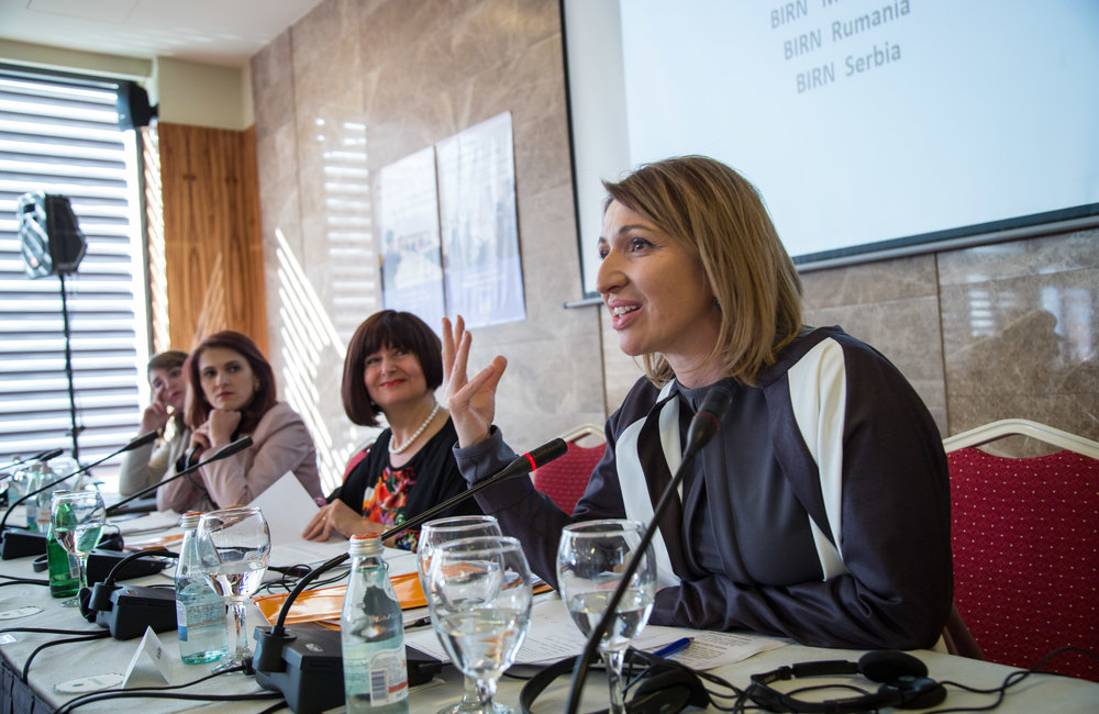 BIRN Kosovo Director and TV host Jeta Xharra gives a presentation on a panel on women in the media.