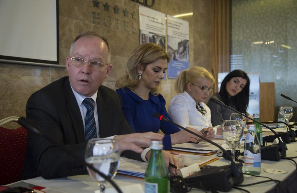 Head of OSCE Mission in Kosovo Ambassador Jan Braathu (left), chairing the panel on women as negotiators and decision-makers