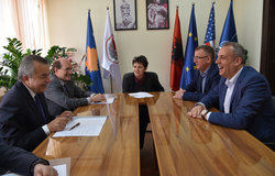 SRSG Zahir Tanin(left), DSRSG Christopher Coleman(second left), and the UNMIK meeting with Mayor Naim Ismajli(right).  2016©UNMIK Poto by: Shpend Bërbatovci​